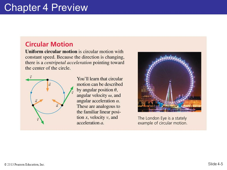 © 2013 Pearson Education, Inc. Example 4.12 The Acceleration of a Ferris Wheel Slide 4-101