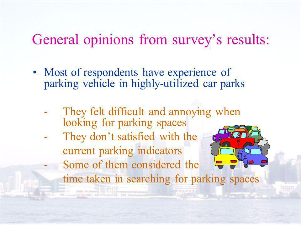 General opinions from surveys results: Most of respondents have experience of parking vehicle in highly-utilized car parks -They felt difficult and annoying when looking for parking spaces - They dont satisfied with the current parking indicators - Some of them considered the time taken in searching for parking spaces