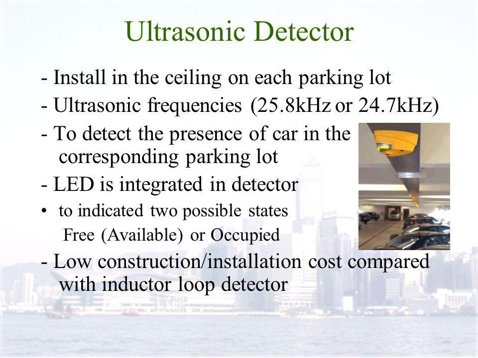 - Install in the ceiling on each parking lot - Ultrasonic frequencies (25.8kHz or 24.7kHz) - To detect the presence of car in the corresponding parking lot - LED is integrated in detector to indicated two possible states Free (Available) or Occupied - Low construction/installation cost compared with inductor loop detector