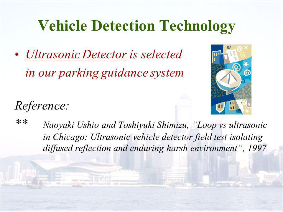 Vehicle Detection Technology Ultrasonic Detector is selected in our parking guidance system Reference: ** Naoyuki Ushio and Toshiyuki Shimizu, Loop vs ultrasonic in Chicago: Ultrasonic vehicle detector field test isolating diffused reflection and enduring harsh environment, 1997