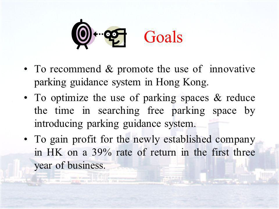 To recommend & promote the use of innovative parking guidance system in Hong Kong.