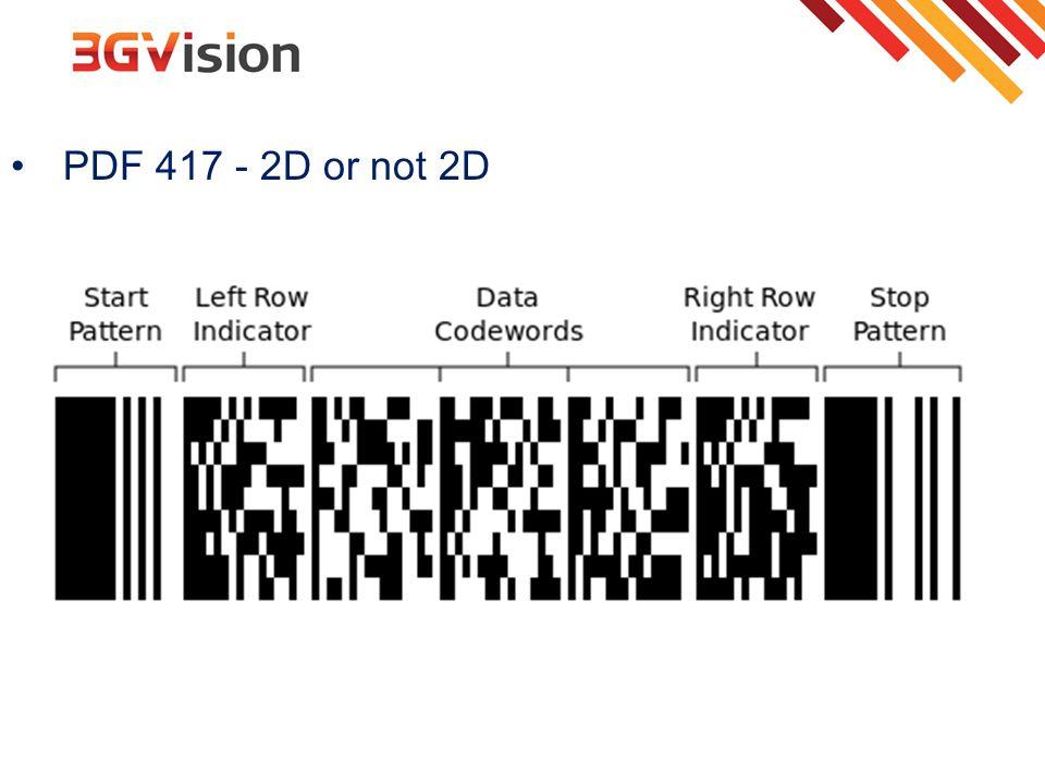 PDF 417 - 2D or not 2D