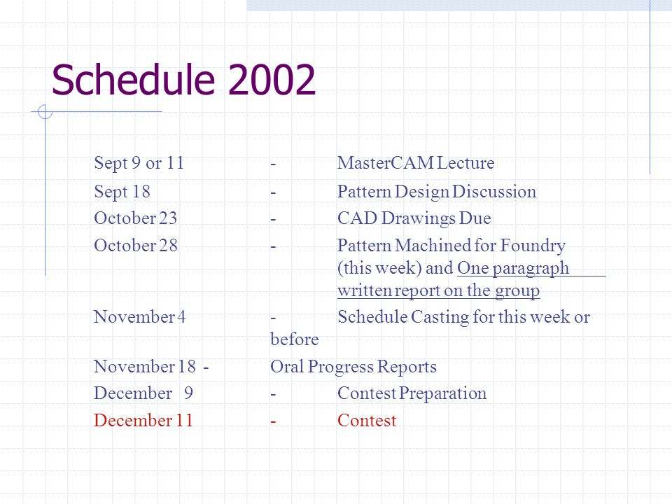 Schedule 2002 Sept 9 or 11-MasterCAM Lecture Sept 18-Pattern Design Discussion October 23-CAD Drawings Due October 28-Pattern Machined for Foundry (th