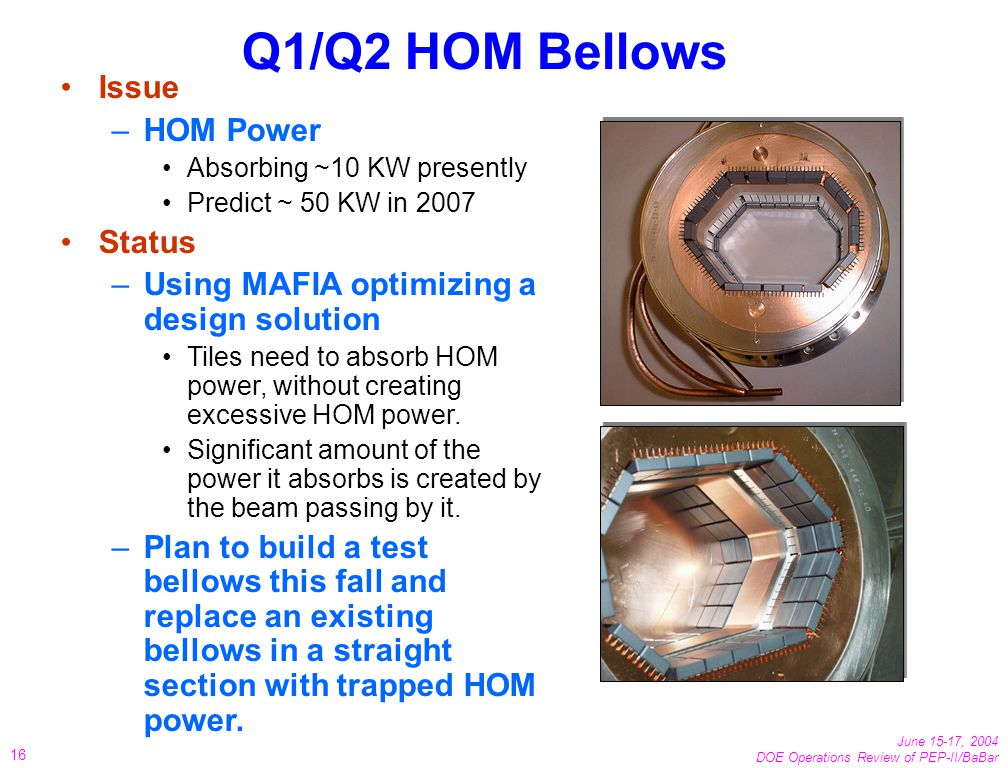 June 15-17, 2004 DOE Operations Review of PEP-II/BaBar 16 Q1/Q2 HOM Bellows Issue –HOM Power Absorbing ~10 KW presently Predict ~ 50 KW in 2007 Status –Using MAFIA optimizing a design solution Tiles need to absorb HOM power, without creating excessive HOM power.
