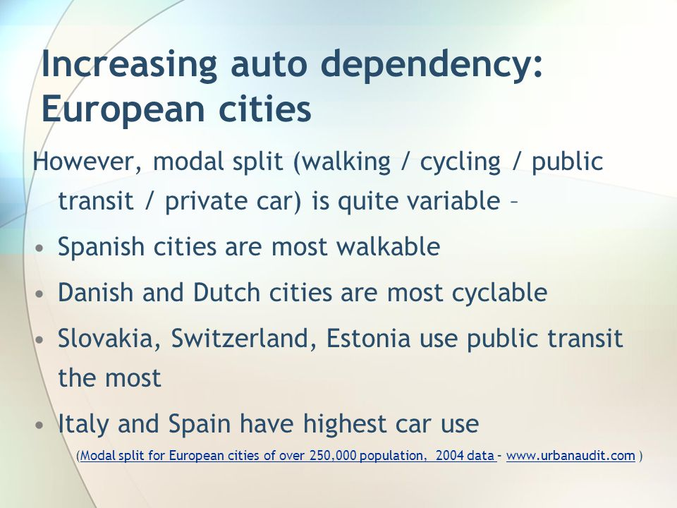 Increasing auto dependency: European cities However, modal split (walking / cycling / public transit / private car) is quite variable – Spanish cities