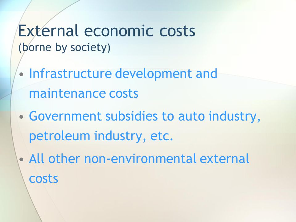 External economic costs (borne by society) Infrastructure development and maintenance costs Government subsidies to auto industry, petroleum industry,