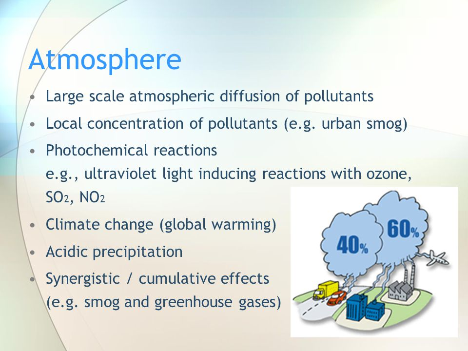 Atmosphere Large scale atmospheric diffusion of pollutants Local concentration of pollutants (e.g. urban smog) Photochemical reactions e.g., ultraviol