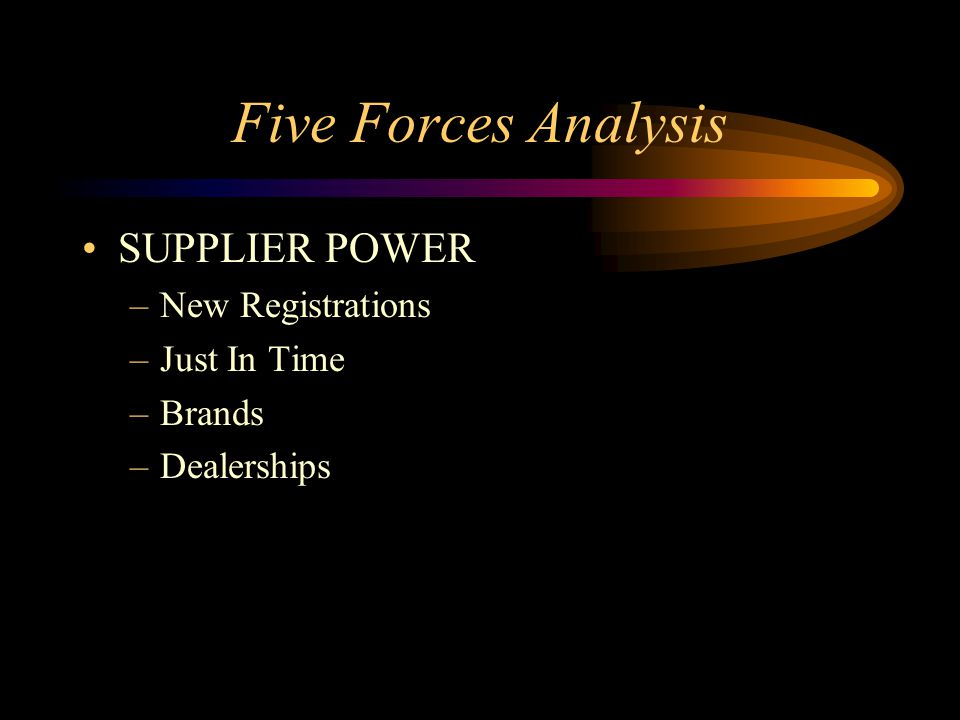 Five Forces Analysis SUPPLIER POWER –New Registrations –Just In Time –Brands –Dealerships