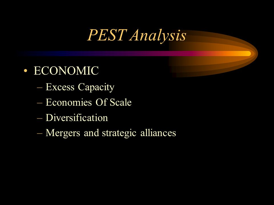 PEST Analysis ECONOMIC –Excess Capacity –Economies Of Scale –Diversification –Mergers and strategic alliances