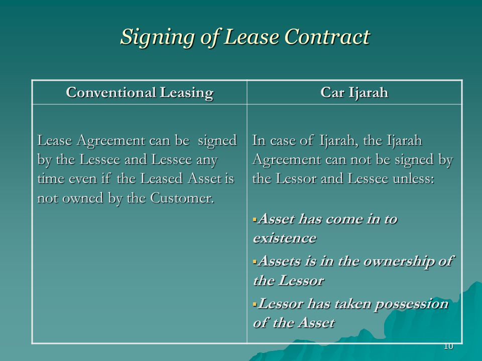 10 Signing of Lease Contract Conventional Leasing Car Ijarah Lease Agreement can be signed by the Lessee and Lessee any time even if the Leased Asset