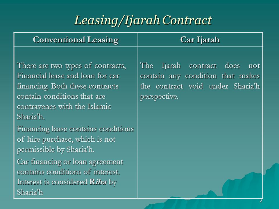 3 Rights & Liabilities of Lessor and Lessee Conventional Leasing Car Ijarah In Conventional Leasing Products, the Customer is responsible for all kinds of losses or damages to the Leased asset, irrespective of the circumstances.