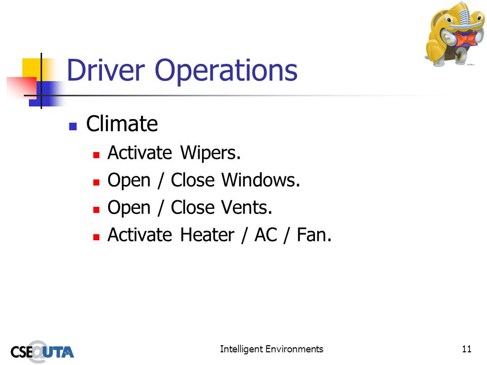 Intelligent Environments11 Driver Operations Climate Activate Wipers.