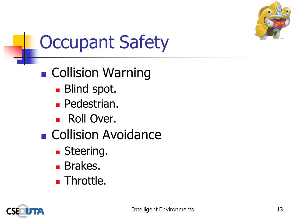 Intelligent Environments13 Occupant Safety Collision Warning Blind spot. Pedestrian. Roll Over. Collision Avoidance Steering. Brakes. Throttle.