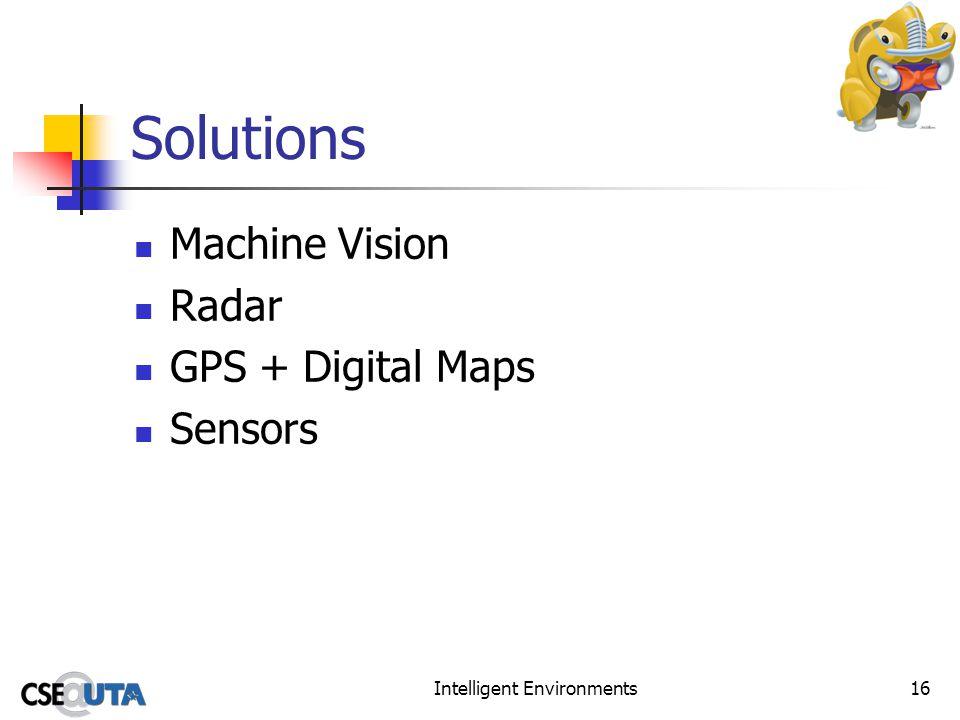 Intelligent Environments16 Solutions Machine Vision Radar GPS + Digital Maps Sensors