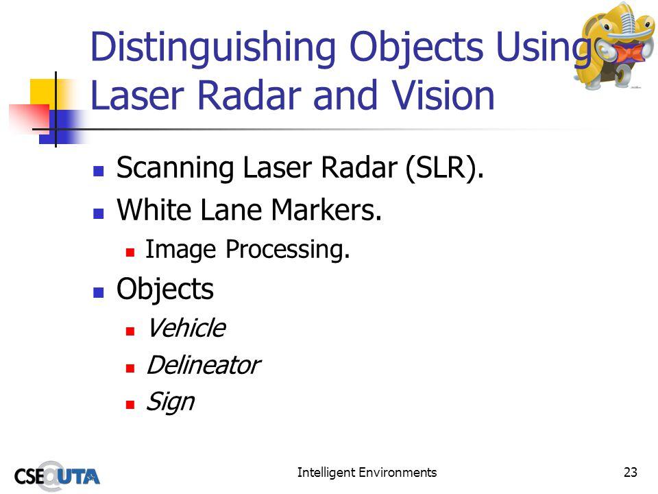 Intelligent Environments23 Distinguishing Objects Using Laser Radar and Vision Scanning Laser Radar (SLR). White Lane Markers. Image Processing. Objec