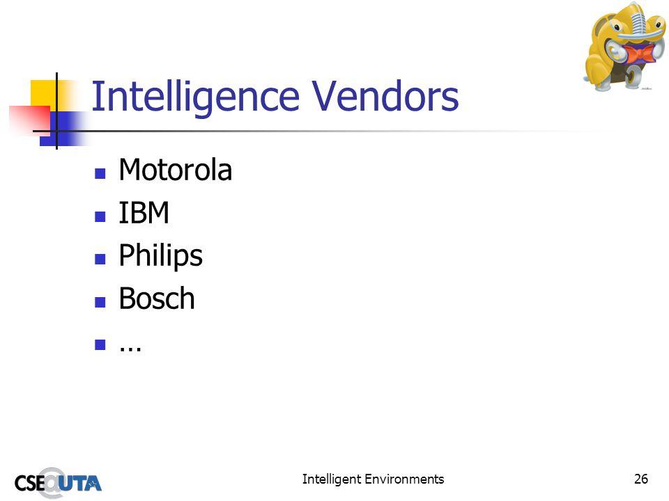 Intelligent Environments26 Intelligence Vendors Motorola IBM Philips Bosch …