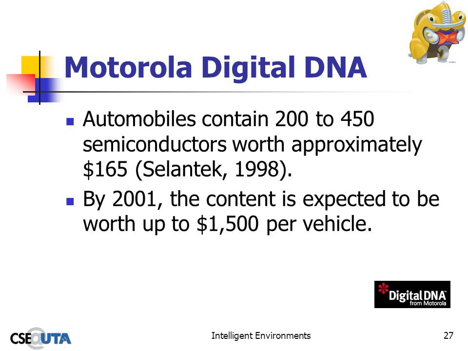 Intelligent Environments27 Motorola Digital DNA Automobiles contain 200 to 450 semiconductors worth approximately $165 (Selantek, 1998). By 2001, the