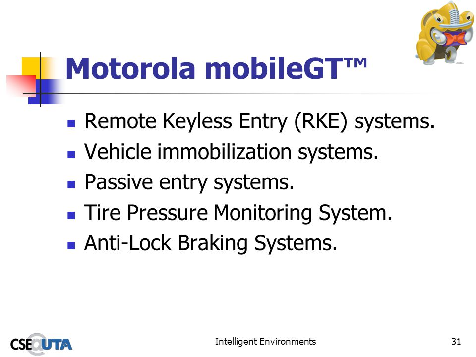 Intelligent Environments31 Motorola mobileGT Remote Keyless Entry (RKE) systems. Vehicle immobilization systems. Passive entry systems. Tire Pressure