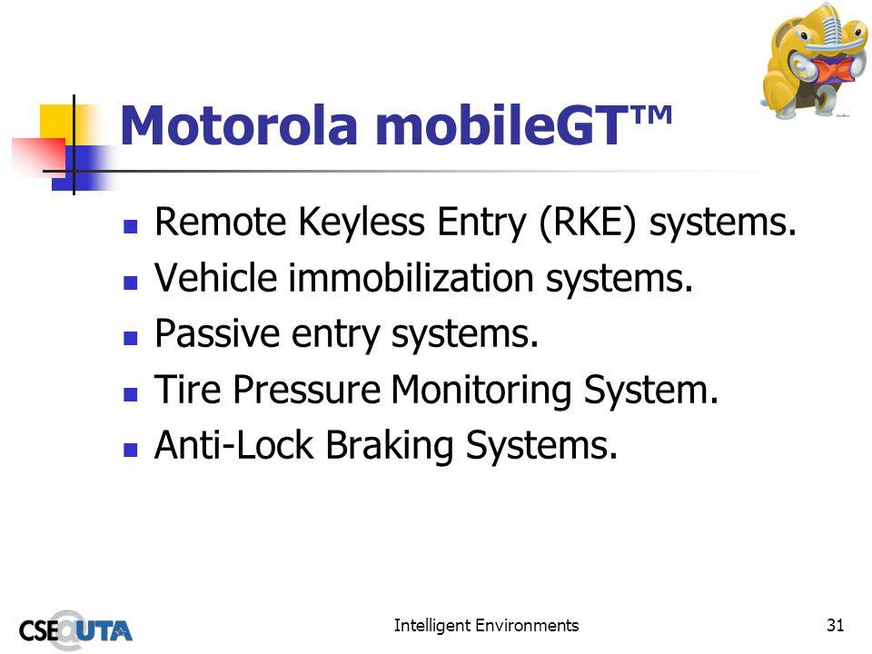 Intelligent Environments31 Motorola mobileGT Remote Keyless Entry (RKE) systems.