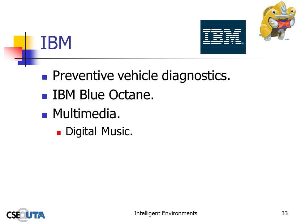 Intelligent Environments33 IBM Preventive vehicle diagnostics. IBM Blue Octane. Multimedia. Digital Music.