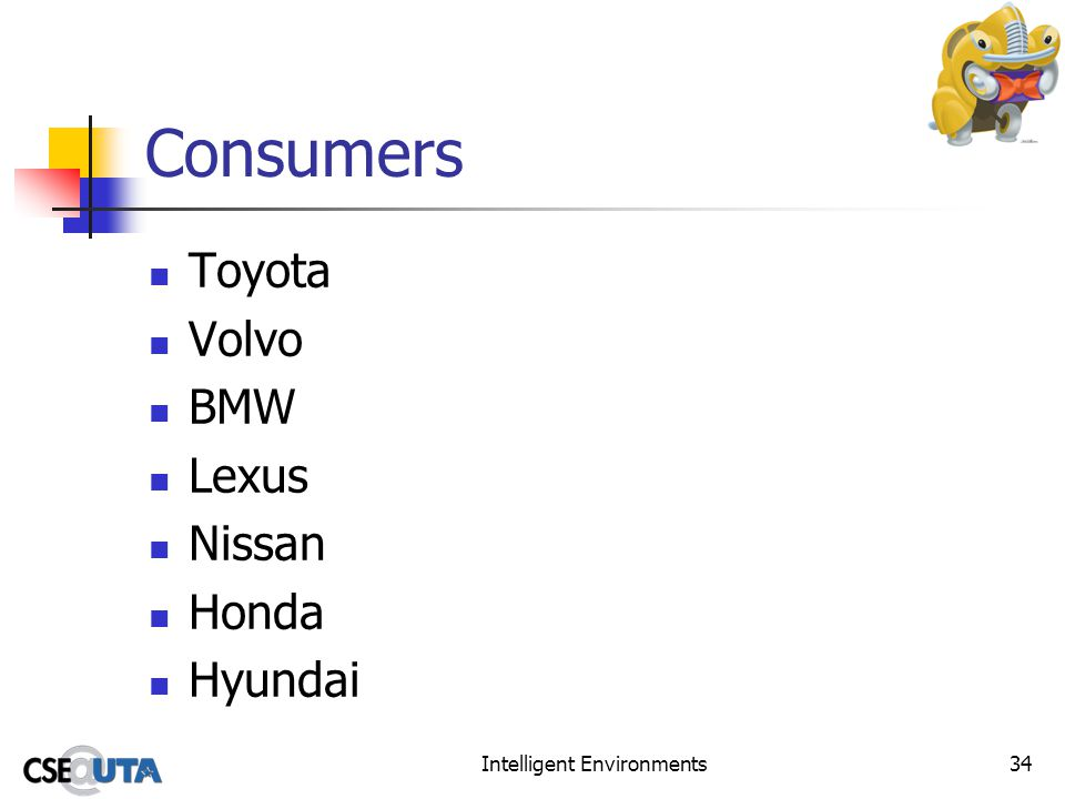 Intelligent Environments34 Consumers Toyota Volvo BMW Lexus Nissan Honda Hyundai