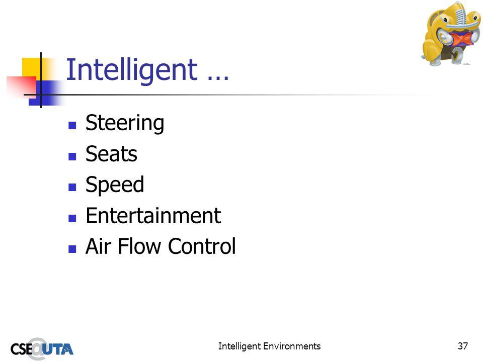 Intelligent Environments37 Intelligent … Steering Seats Speed Entertainment Air Flow Control