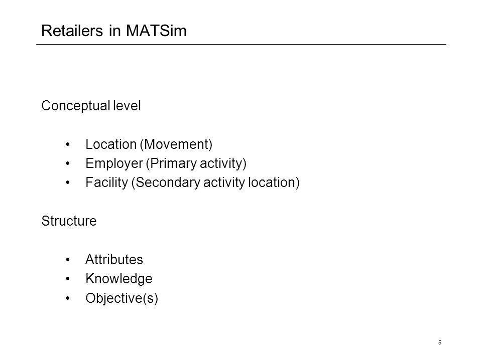 5 Retailers in MATSim Conceptual level Location (Movement) Employer (Primary activity) Facility (Secondary activity location) Structure Attributes Knowledge Objective(s)