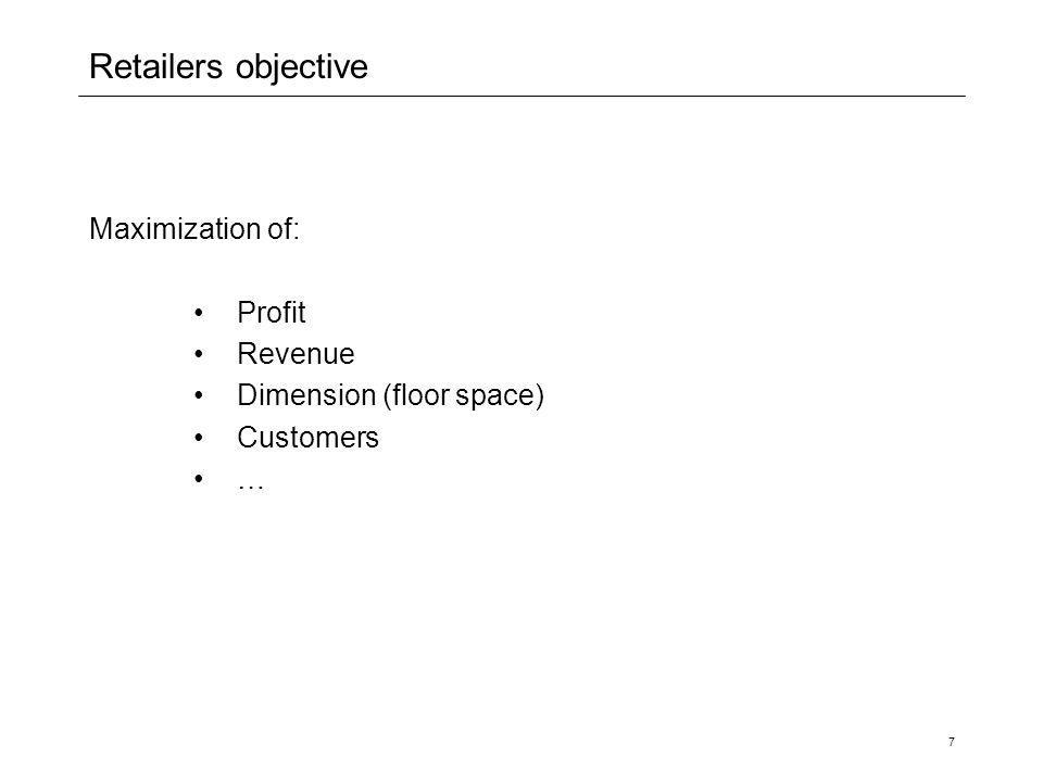 7 Retailers objective Maximization of: Profit Revenue Dimension (floor space) Customers …