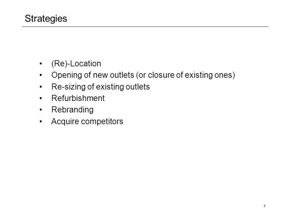 8 Strategies (Re)-Location Opening of new outlets (or closure of existing ones) Re-sizing of existing outlets Refurbishment Rebranding Acquire competi