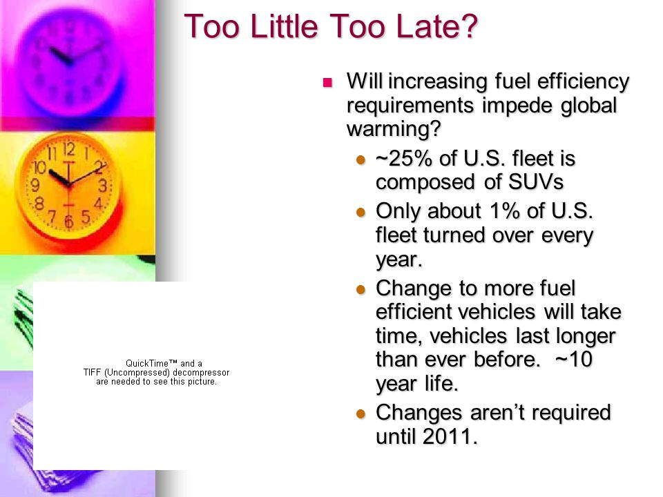 Too Little Too Late. Will increasing fuel efficiency requirements impede global warming.