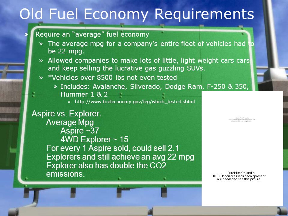 Why hasnt the government required higher efficiencies for all vehicles.