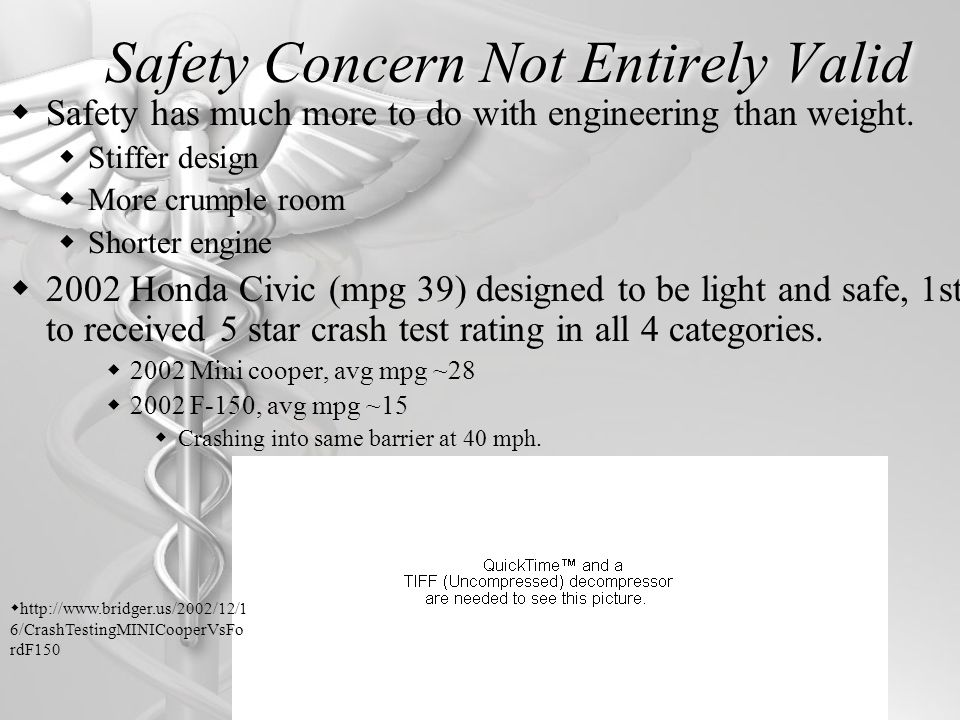 Safety Concern Not Entirely Valid Safety has much more to do with engineering than weight.