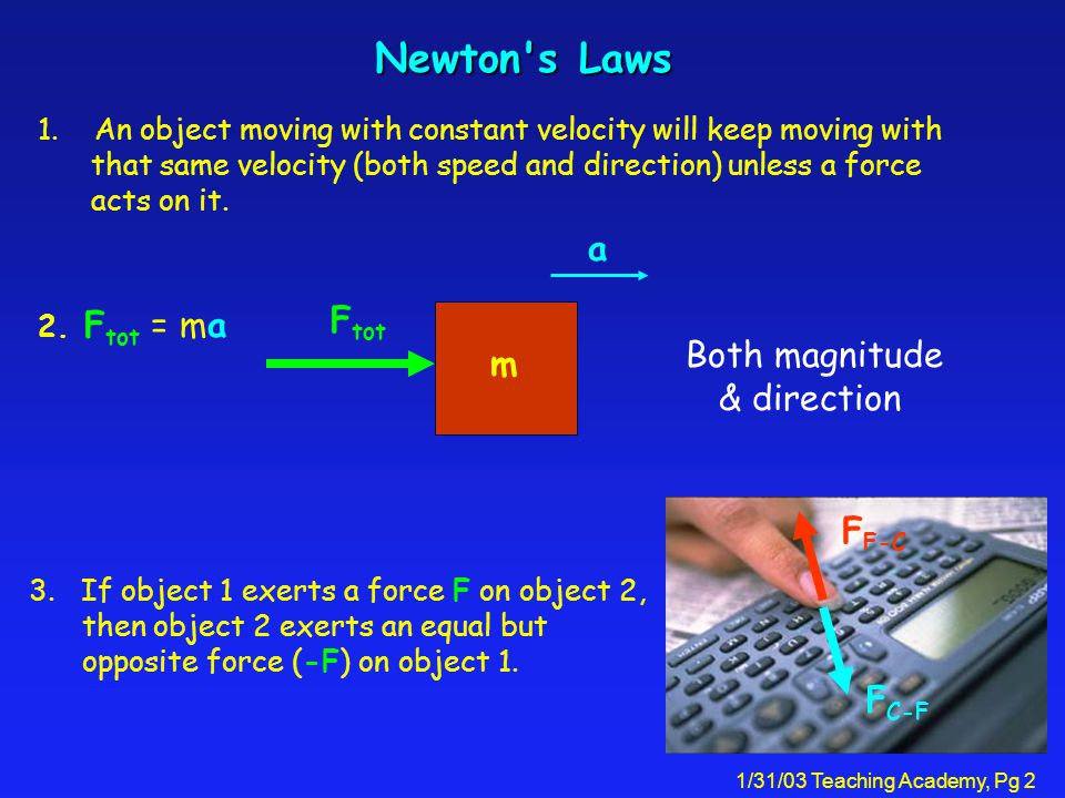 1/31/03 Teaching Academy, Pg 2 Newton s Laws Both magnitude & direction 1.