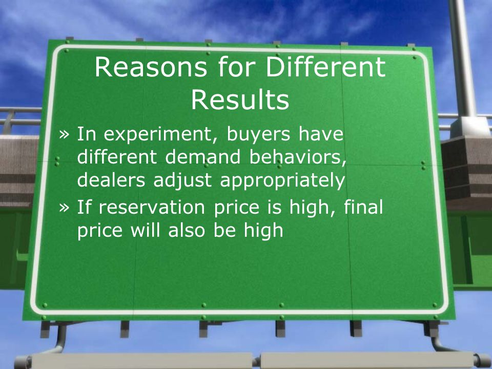 Reasons for Different Results »In experiment, buyers have different demand behaviors, dealers adjust appropriately »If reservation price is high, final price will also be high
