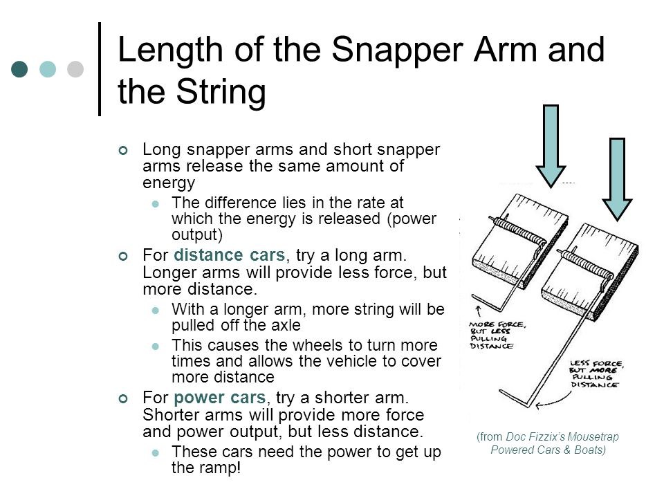 Length of the Snapper Arm and the String Long snapper arms and short snapper arms release the same amount of energy The difference lies in the rate at