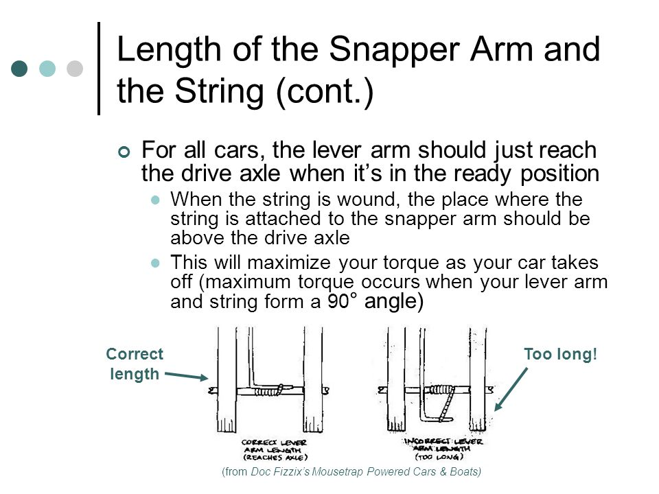 Length of the Snapper Arm and the String (cont.) For all cars, the lever arm should just reach the drive axle when its in the ready position When the