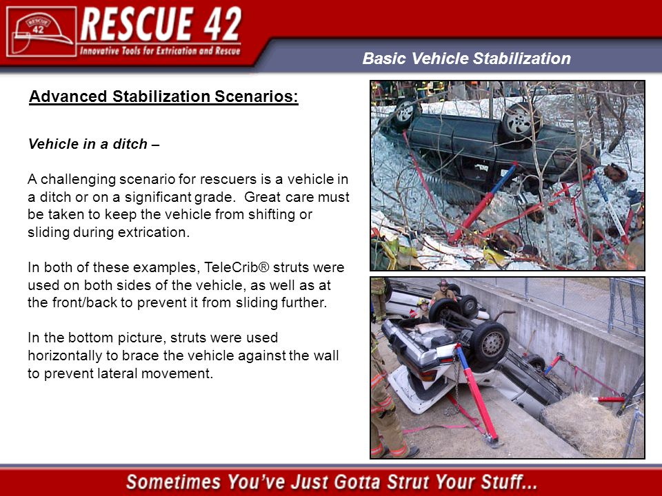 Basic Vehicle Stabilization Advanced Stabilization Scenarios: Vehicle in a ditch – A challenging scenario for rescuers is a vehicle in a ditch or on a significant grade.
