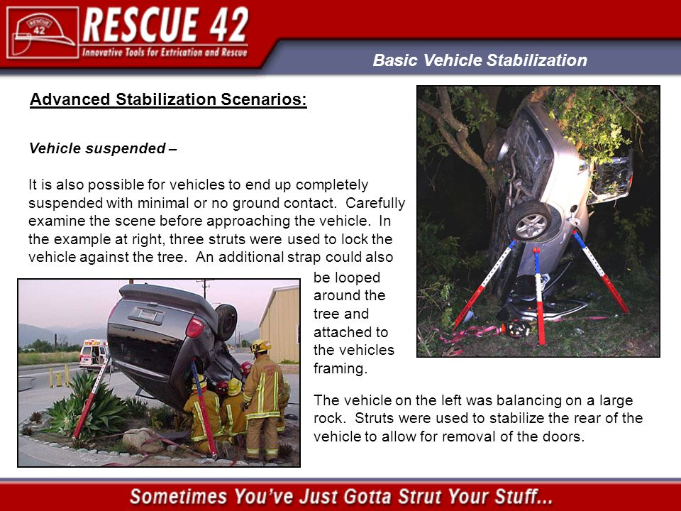 Basic Vehicle Stabilization Advanced Stabilization Scenarios: Vehicle suspended – It is also possible for vehicles to end up completely suspended with minimal or no ground contact.