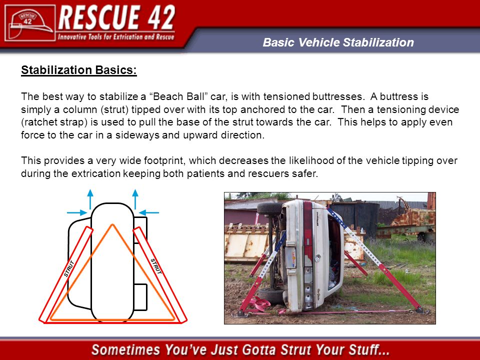 Basic Vehicle Stabilization Additional Instructional Resources: Resources available from www.RESCUE42.comwww.RESCUE42.com A-Frame Setup (PowerPoint) Ratchet Strap Care and Operation (PowerPoint) Strut Jack Operation (PowerPoint) Tripod Setup (PowerPoint) TeleCrib® Owners Manual (PDF) Examples of various Stabilization Scenarios on our Struts in Action web pages Call or go online to order your free Instructional TeleCrib® DVD: www.RESCUE42.comwww.RESCUE42.com (888) 427-3728