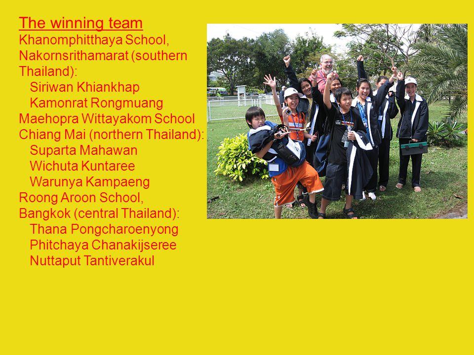 The winning team Khanomphitthaya School, Nakornsrithamarat (southern Thailand): Siriwan Khiankhap Kamonrat Rongmuang Maehopra Wittayakom School Chiang
