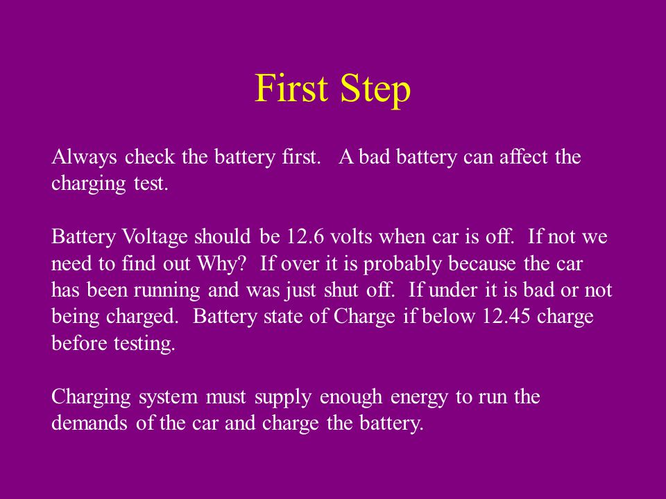 Always check the battery first. A bad battery can affect the charging test.