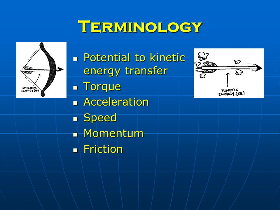 Terminology Potential to kinetic energy transfer Potential to kinetic energy transfer Torque Torque Acceleration Acceleration Speed Speed Momentum Momentum Friction Friction