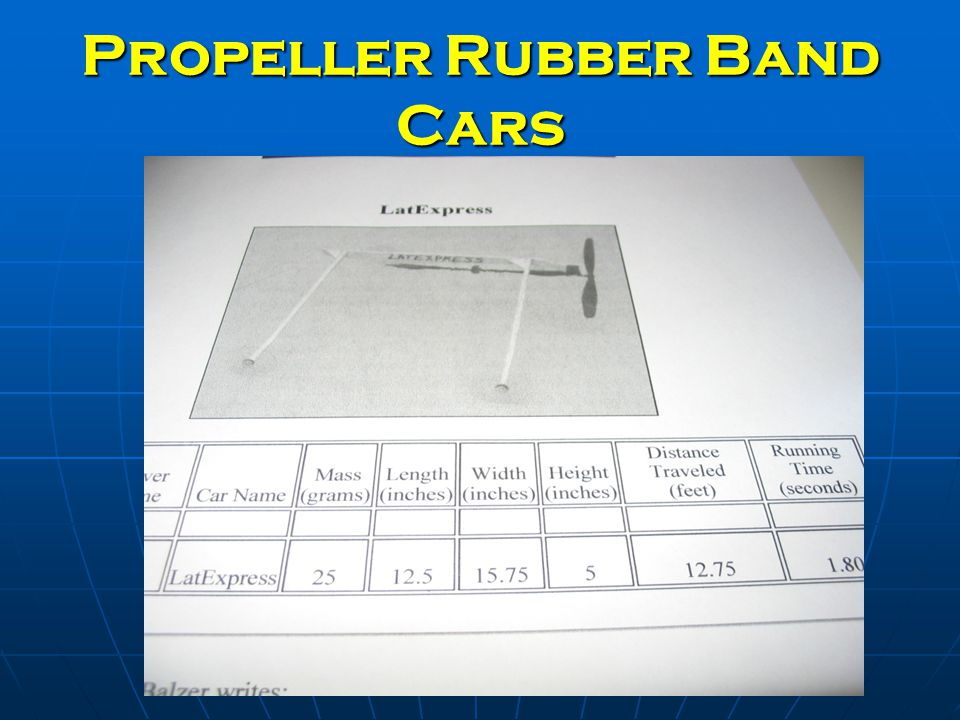 Propeller Rubber Band Cars