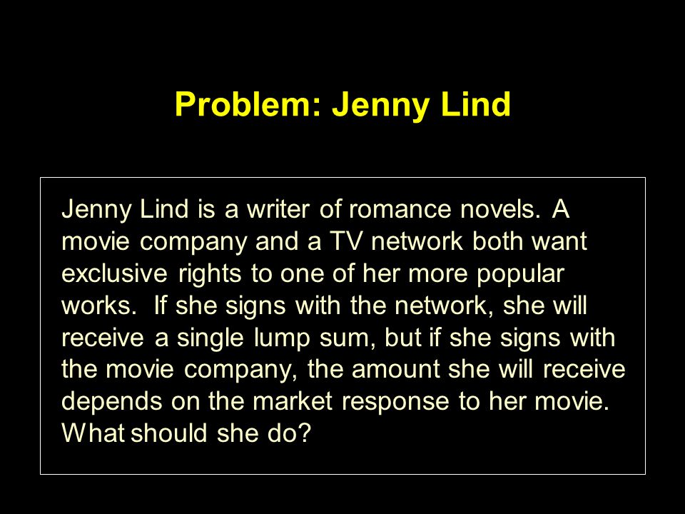 Problem: Jenny Lind Jenny Lind is a writer of romance novels.