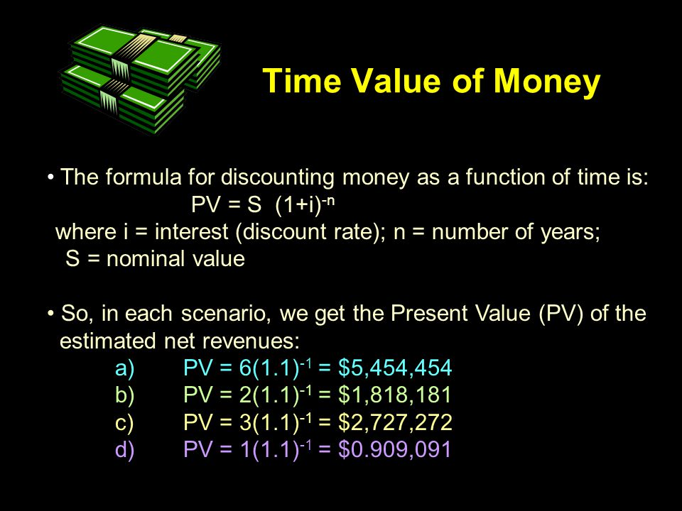 Time Value of Money The formula for discounting money as a function of time is: PV = S (1+i) -n where i = interest (discount rate); n = number of years; S = nominal value So, in each scenario, we get the Present Value (PV) of the estimated net revenues: a)PV = 6(1.1) -1 = $5,454,454 b)PV = 2(1.1) -1 = $1,818,181 c)PV = 3(1.1) -1 = $2,727,272 d)PV = 1(1.1) -1 = $0.909,091