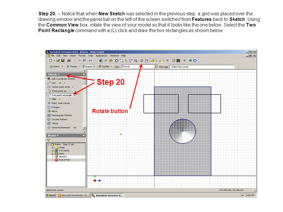 Step 20. – Notice that when New Sketch was selected in the previous step, a grid was placed over the drawing window and the panel bar on the left of t