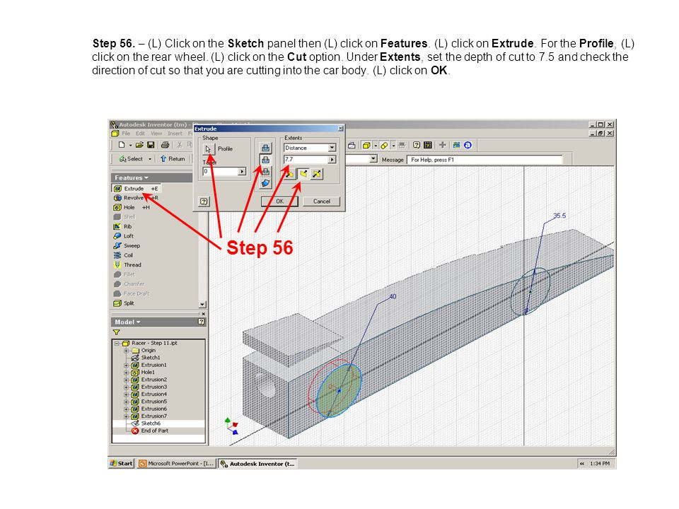 Step 56. – (L) Click on the Sketch panel then (L) click on Features. (L) click on Extrude. For the Profile, (L) click on the rear wheel. (L) click on