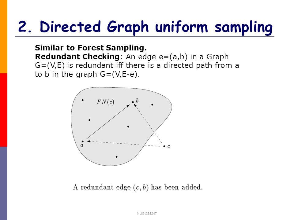 NUS CS5247 2. Directed Graph uniform sampling Similar to Forest Sampling.