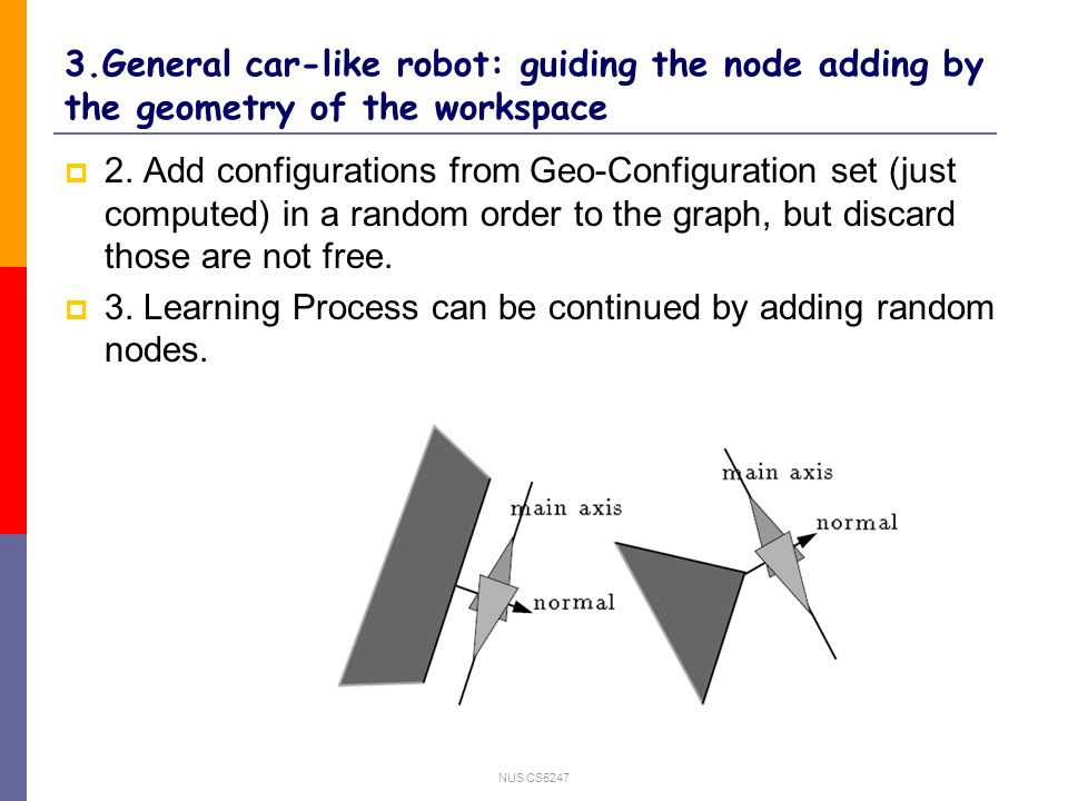 NUS CS General car-like robot: guiding the node adding by the geometry of the workspace 2.