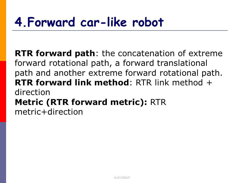 NUS CS5247 4.Forward car-like robot RTR forward path: the concatenation of extreme forward rotational path, a forward translational path and another extreme forward rotational path.